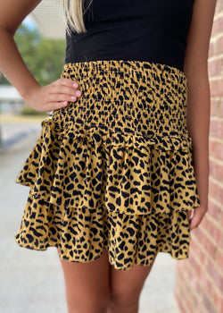 Queen Of The Jungle Mustard Leopard Skirt-Shop-Womens-Boutique-Clothing