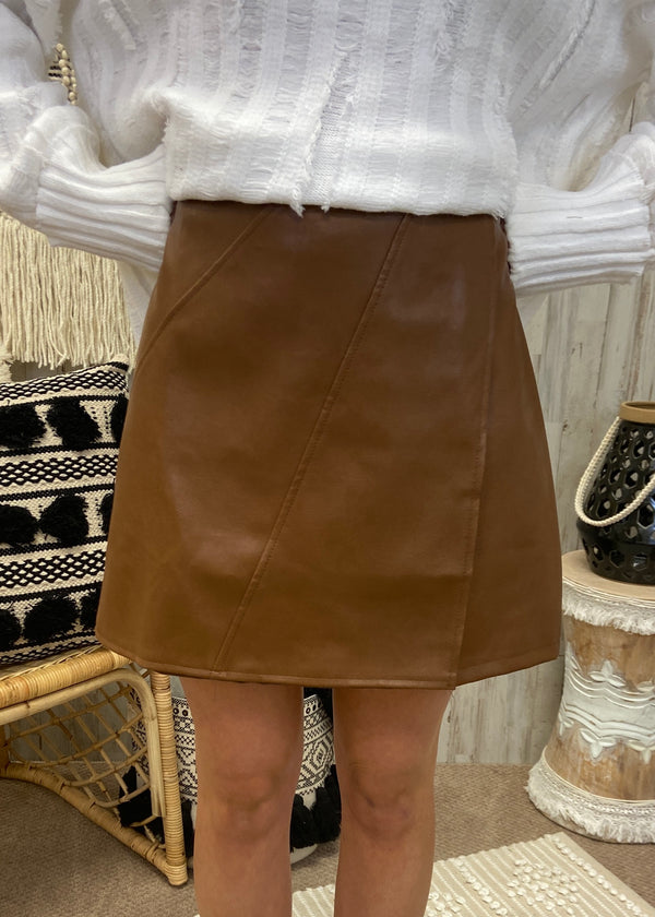 She Cute Camel Faux Leather Skirt-Shop-Womens-Boutique-Clothing