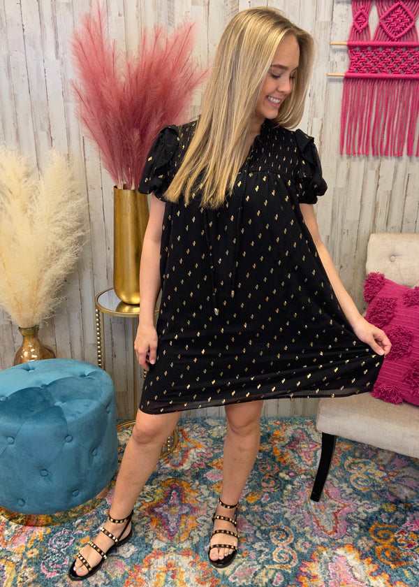 One In A Million Black Speckled Dress-Shop-Womens-Boutique-Clothing