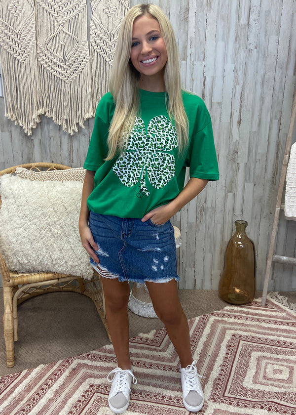 Clover Leopard Green Tee-Shop-Womens-Boutique-Clothing
