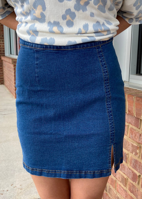 Showing Off Medium Denim A Line Slit Zipper Skirt-Shop-Womens-Boutique-Clothing