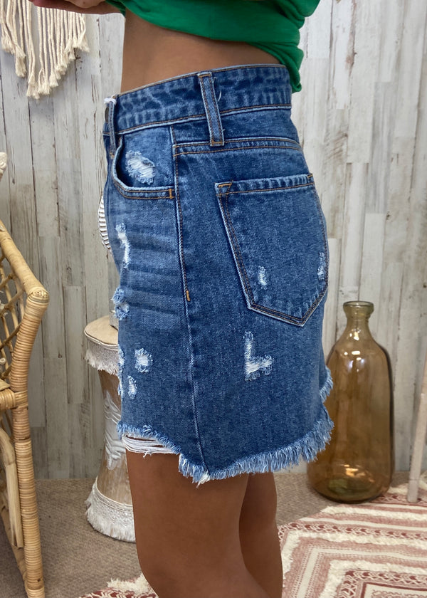 Lookin' Good Denim Distressed Skirt-Shop-Womens-Boutique-Clothing