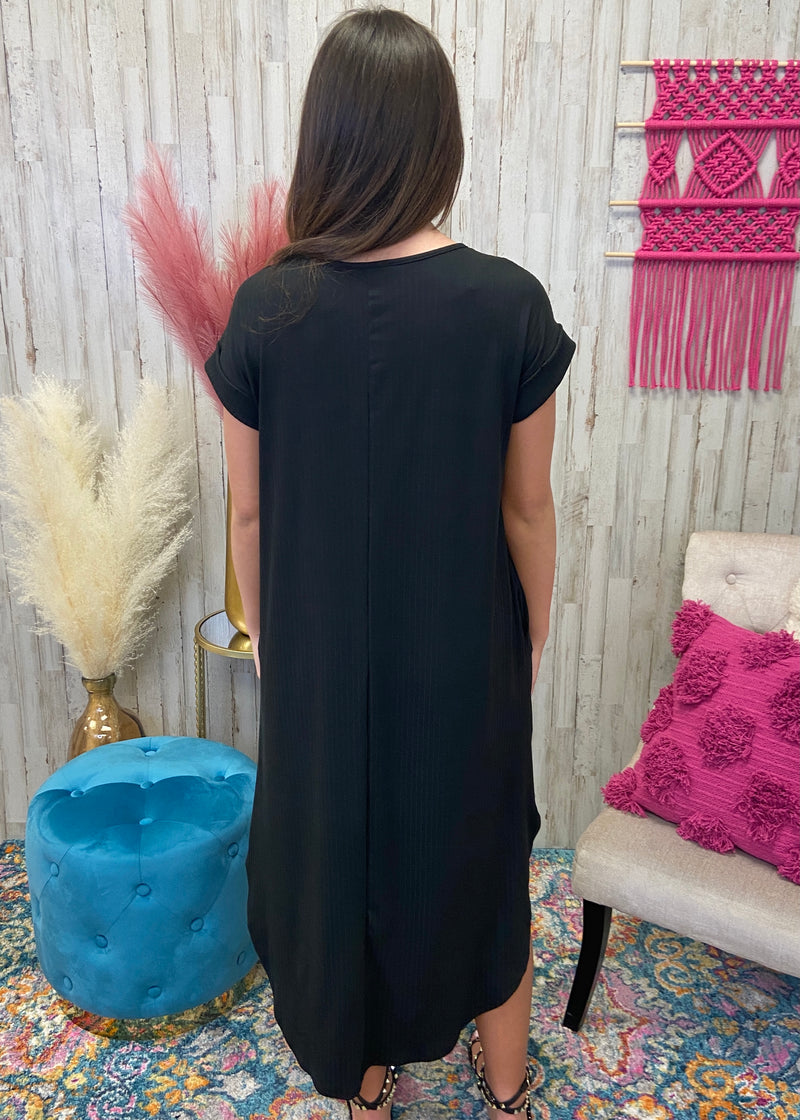Our Moment Black Ribbed Dress-Shop-Womens-Boutique-Clothing