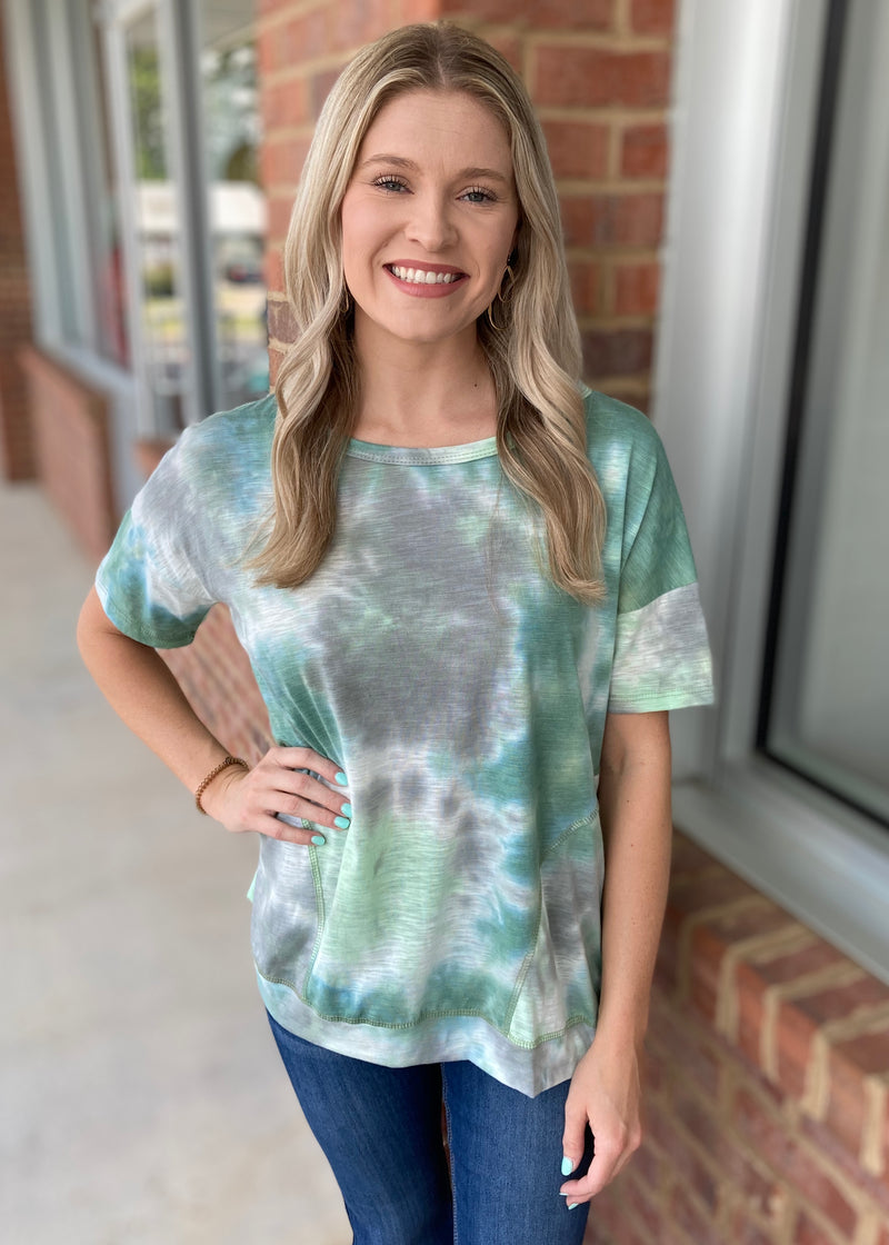 Anywhere You Are Teal Tie Dye Top-Shop-Womens-Boutique-Clothing