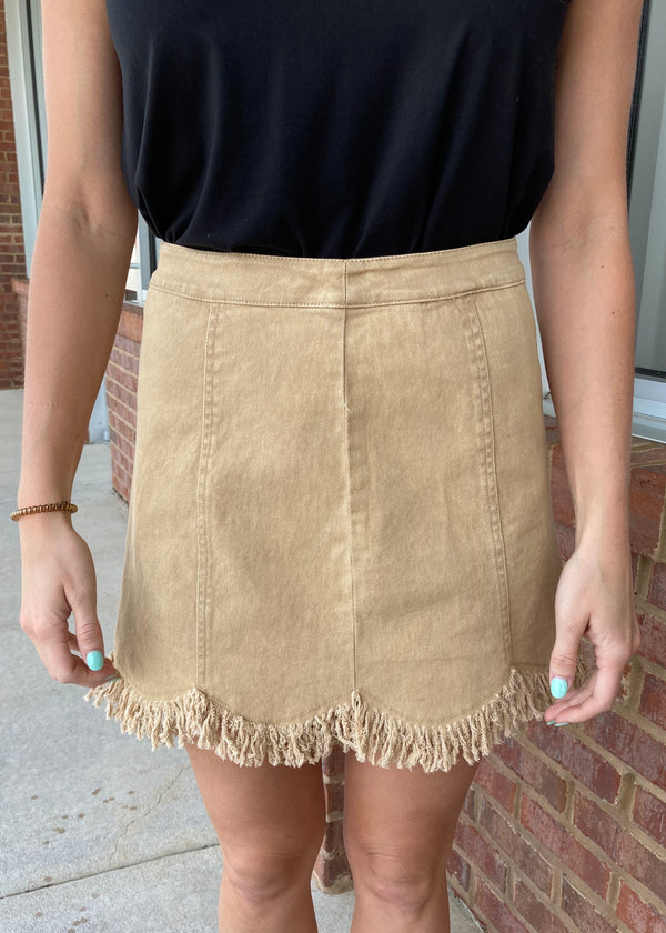 Bold Attitude Khaki Fringed Skirt-Shop-Womens-Boutique-Clothing