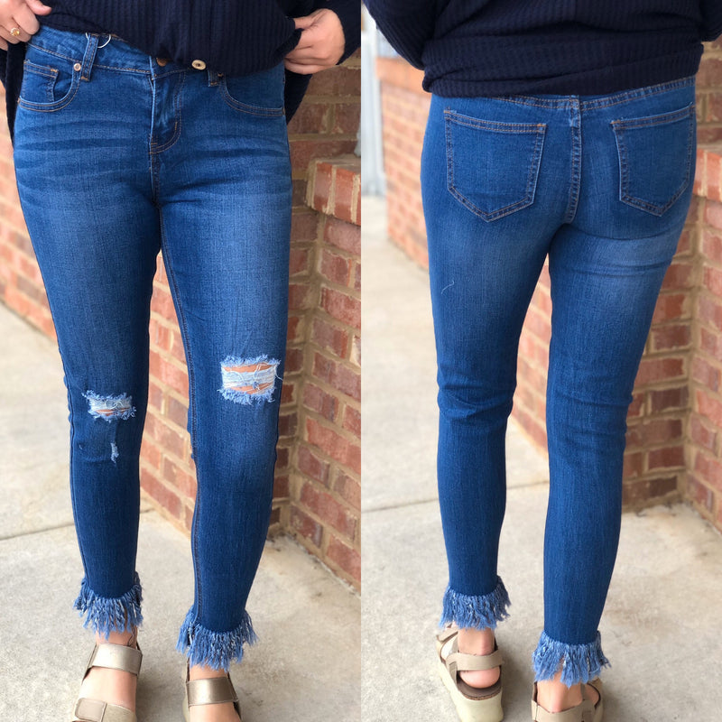 Medium Blue Distressed Fringed Jeans-Shop-Womens-Boutique-Clothing