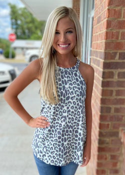 Wonder Through Sage Grey Animal Print Tank Top-Shop-Womens-Boutique-Clothing