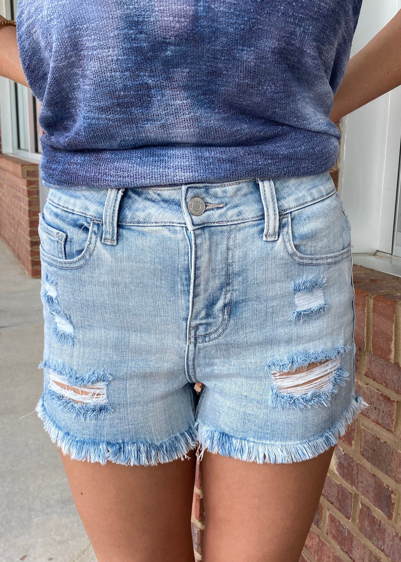 Summer Days Light Blue Fray Hem Shorts-Shop-Womens-Boutique-Clothing