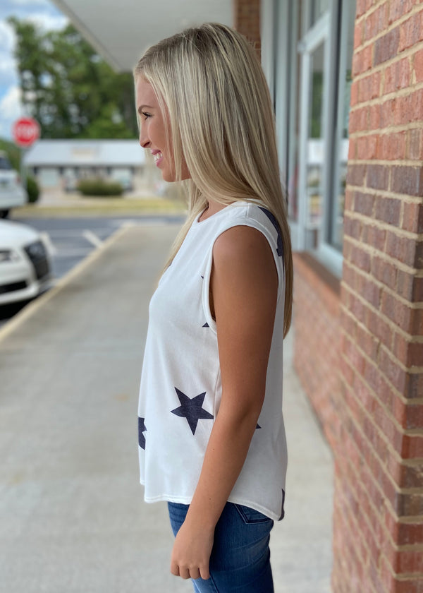 With Stars In Our Eyes Ivory Star Print Sleeveless Top-Shop-Womens-Boutique-Clothing