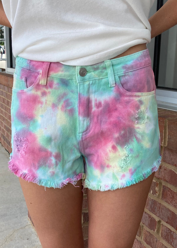 Look For Happiness Pink Tie Dye Shorts-Shop-Womens-Boutique-Clothing