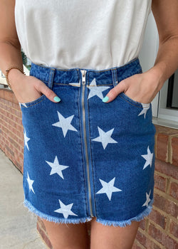 Star Gaze Girl Denim Star Skirt-Shop-Womens-Boutique-Clothing
