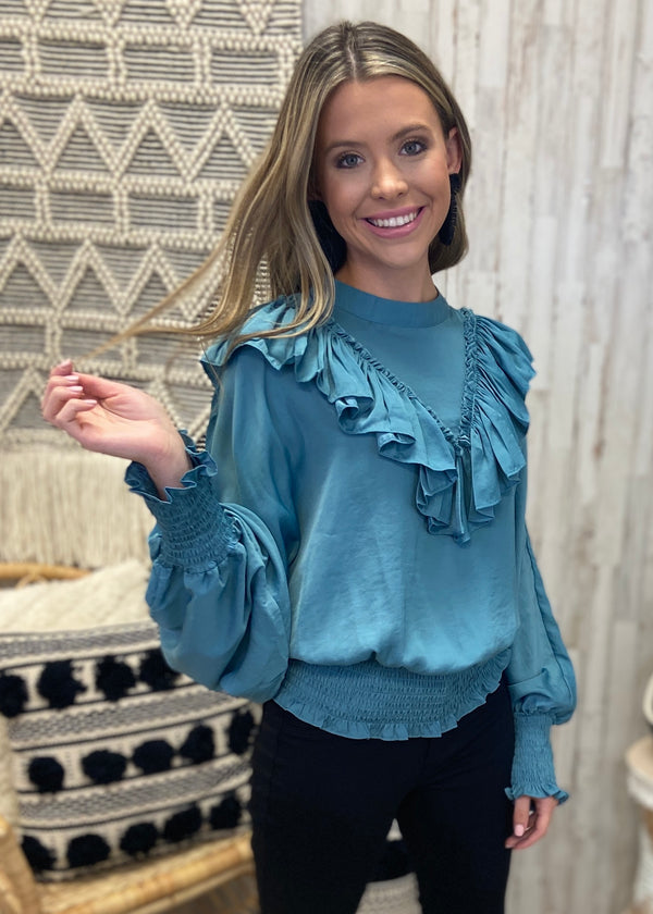 Silky Seduction Sage Smocked Top-Shop-Womens-Boutique-Clothing
