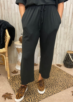 Need To Be Home Black Ribbed Pants-Shop-Womens-Boutique-Clothing