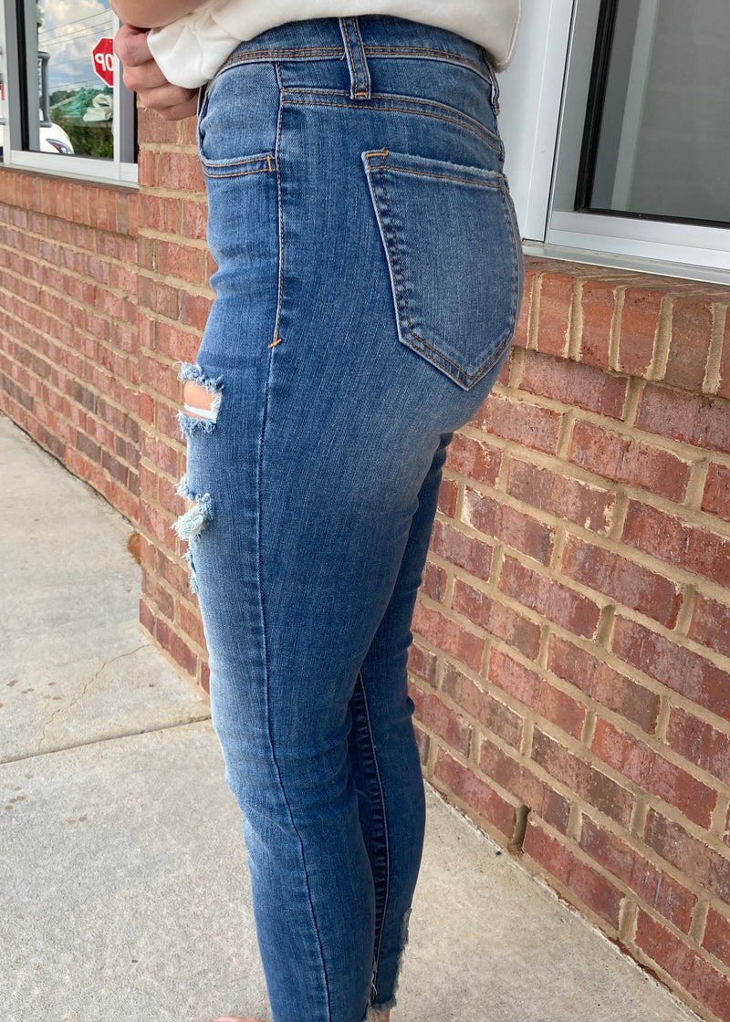 Ask Me Again Medium Denim Mid Rise Skinny-Shop-Womens-Boutique-Clothing