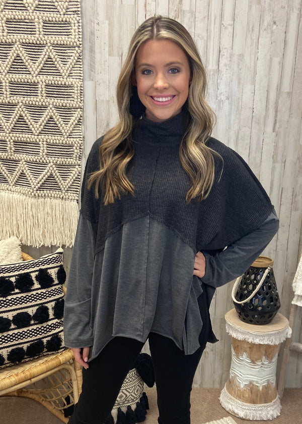 Fall Tradition Dark Waffle Top-Shop-Womens-Boutique-Clothing