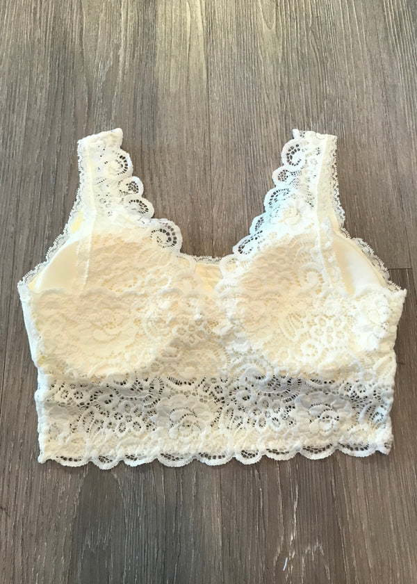 Divine Comfort Ivory Padded Lace Bralette-Shop-Womens-Boutique-Clothing