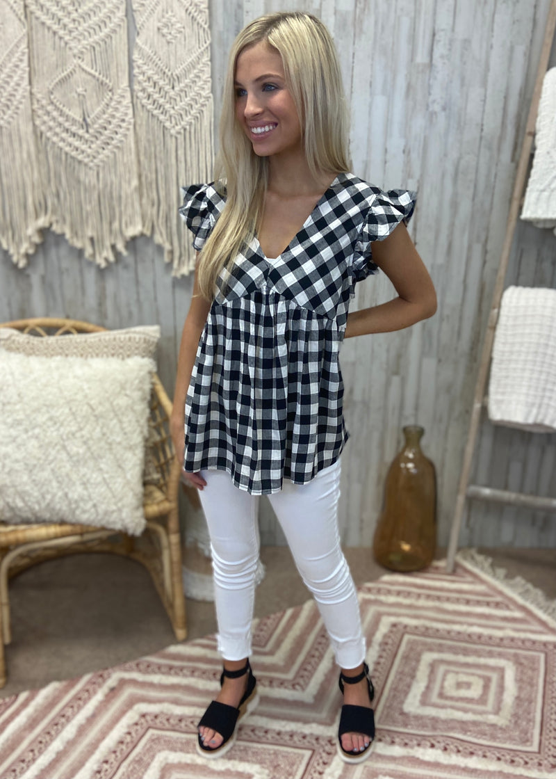 Lucky Soul Black Gingham Top-Shop-Womens-Boutique-Clothing