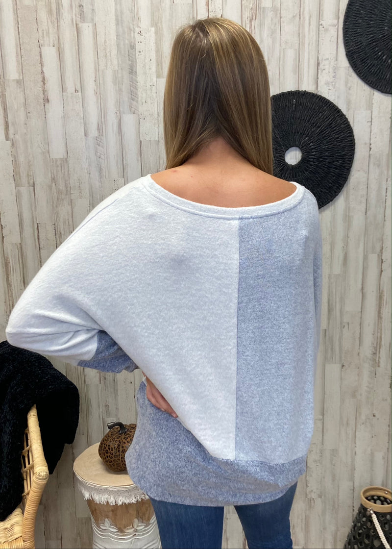 Cute Caption Blue Colorblock Top-Shop-Womens-Boutique-Clothing