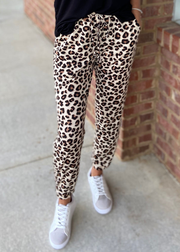 Casual Cutie Brown Animal Print Jogger Pants-Shop-Womens-Boutique-Clothing