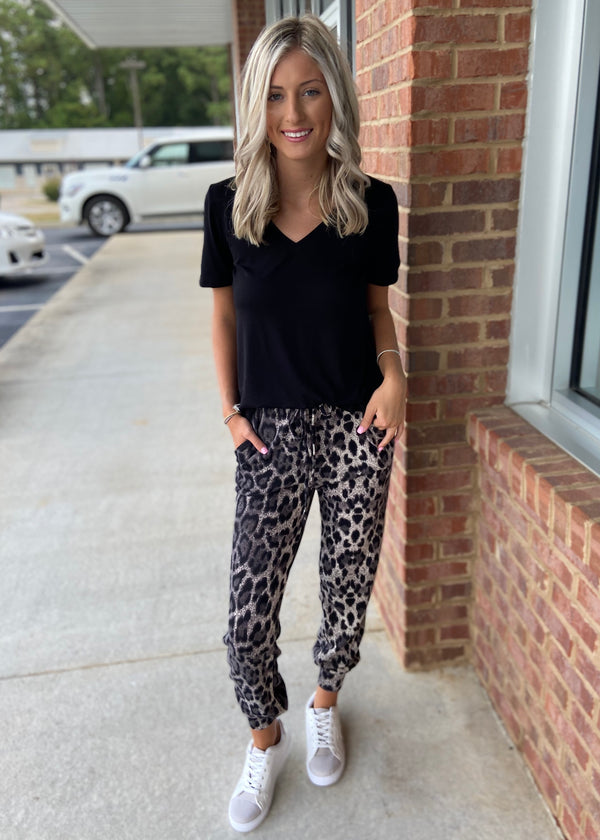 Run To Me Black Animal Print Joggers-Shop-Womens-Boutique-Clothing