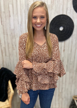 Only Smiles Brown Polka Dot Top-Shop-Womens-Boutique-Clothing