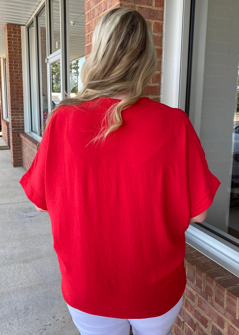 Covering The Basics Plus Size Red Top-Shop-Womens-Boutique-Clothing