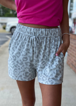 Stay Hidden Grey Animal Print Shorts-Shop-Womens-Boutique-Clothing