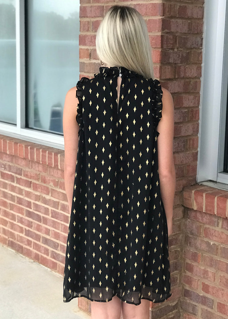 Starry Nights Black High Neck Dress-Shop-Womens-Boutique-Clothing