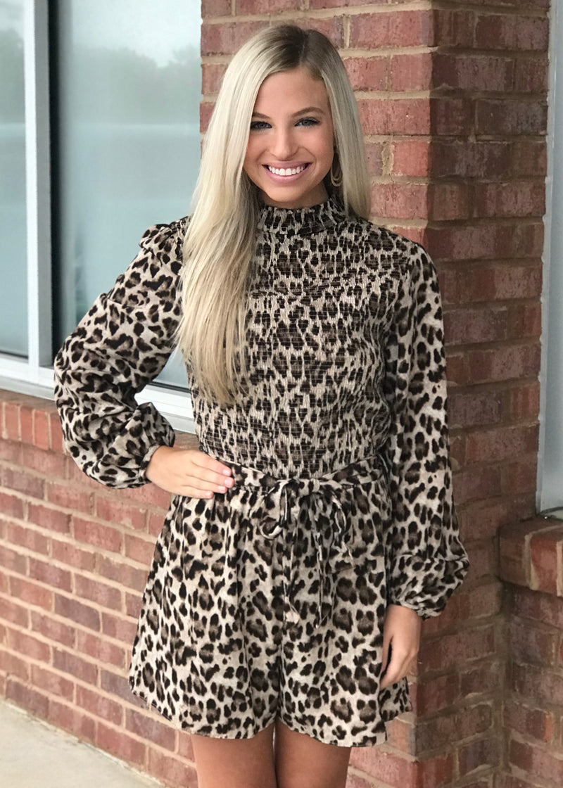 Wondering Around Mocha Animal Print Romper-Shop-Womens-Boutique-Clothing