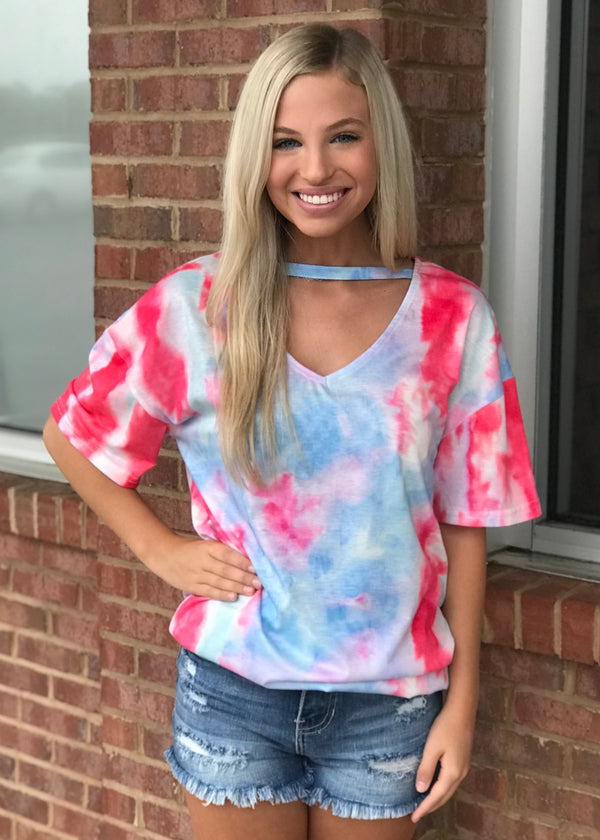Crazy Times Coral Tie Dye Keyhole Top-Shop-Womens-Boutique-Clothing