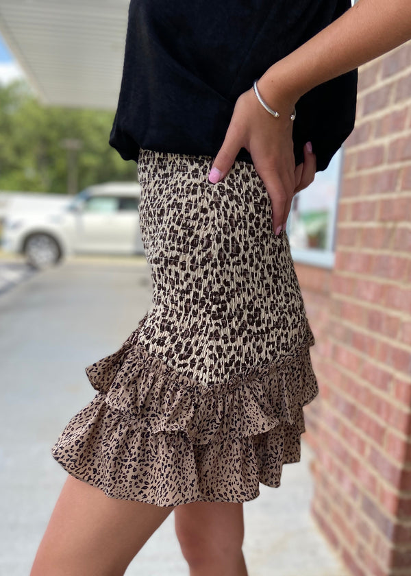 Dangerous Love Tan Leopard Skirt-Shop-Womens-Boutique-Clothing