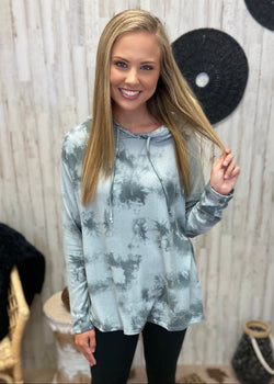 Self Care Sunday Grey Tie Dye Hoodie-Shop-Womens-Boutique-Clothing