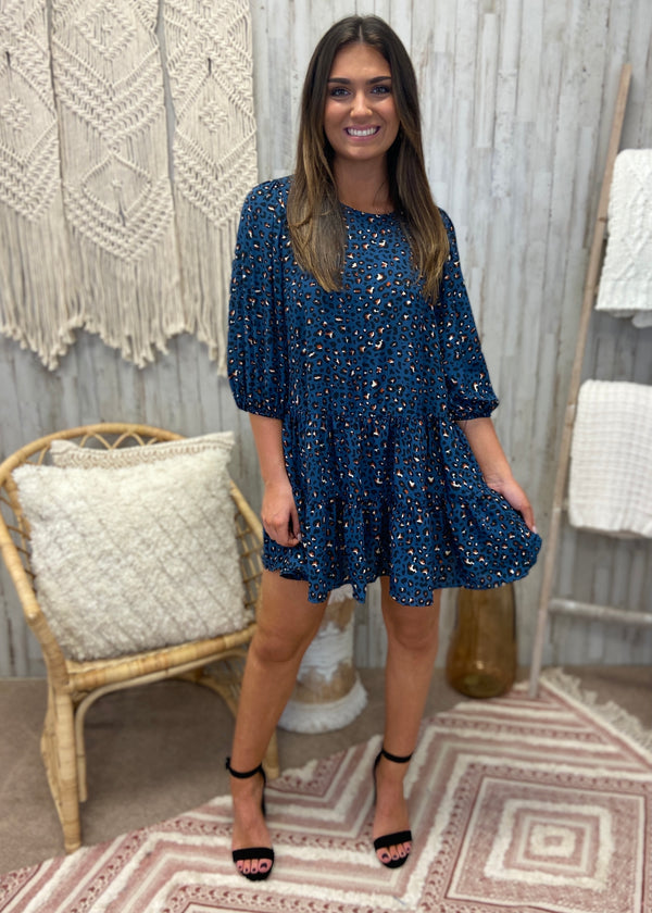 Beautiful Inspiration Denim Animal Print Dress-Shop-Womens-Boutique-Clothing