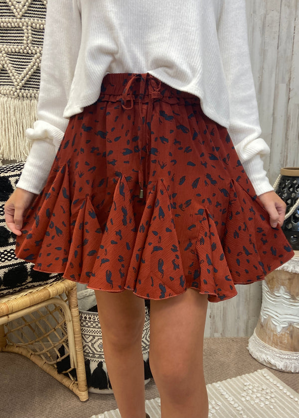 Notorious Flirt Brick Ruffle Skirt-Shop-Womens-Boutique-Clothing
