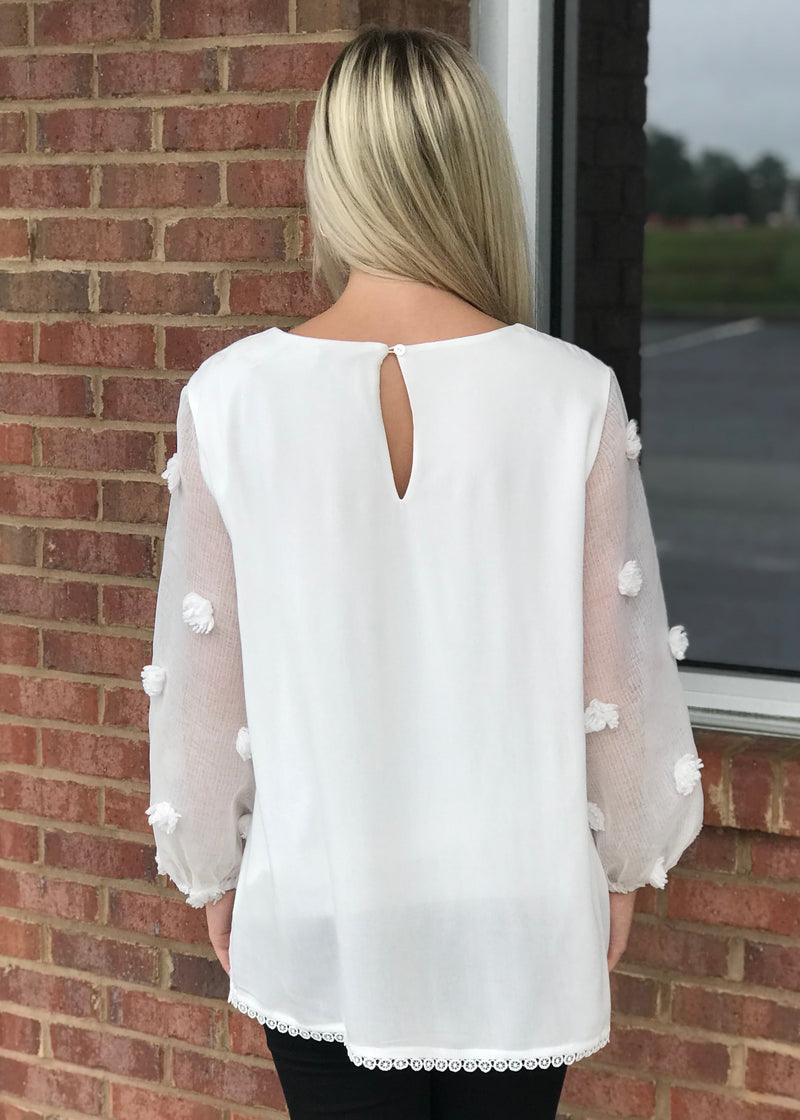 Collecting Love White Pom Pom Top-Shop-Womens-Boutique-Clothing