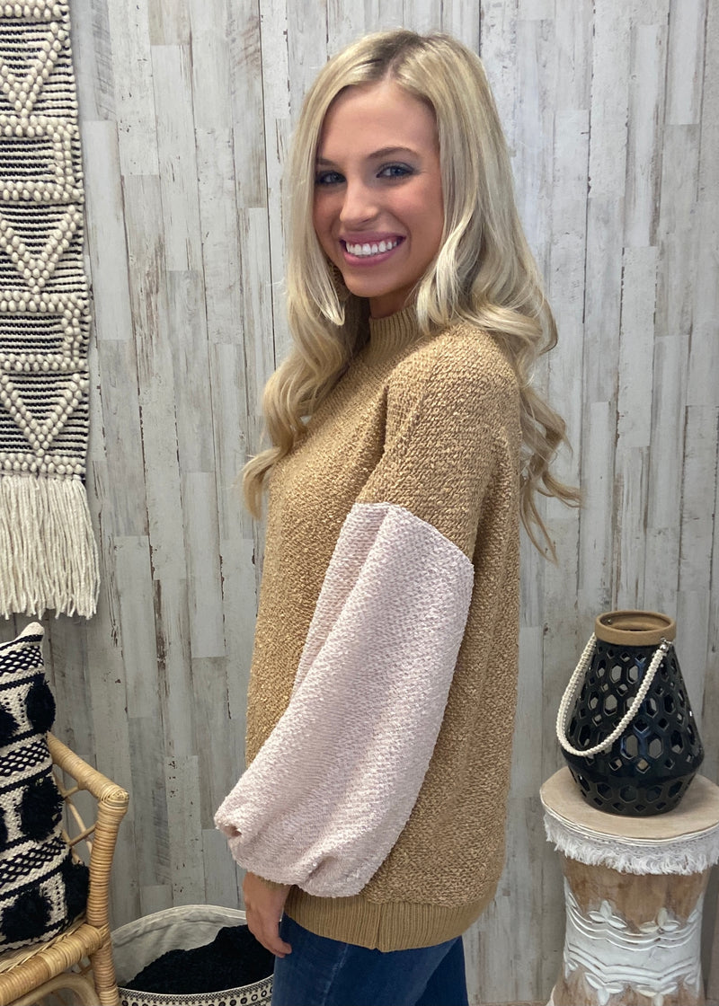 Cocoa Clouds Camel Textured Sweater-Shop-Womens-Boutique-Clothing