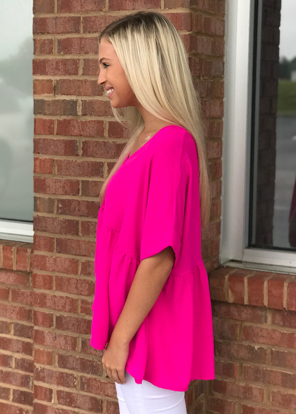 Bright As Can Be Hot Pink Babydoll Top-Shop-Womens-Boutique-Clothing