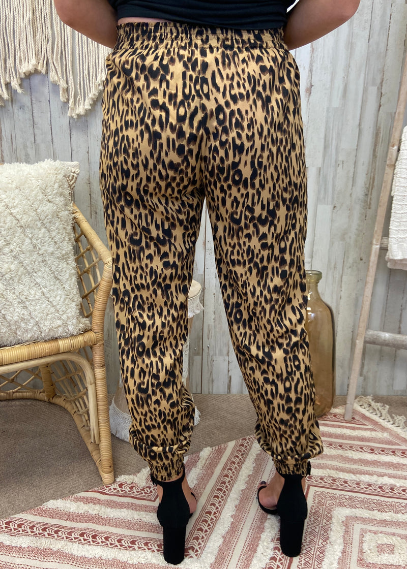 Instant Feels Brown Leopard Joggers-Shop-Womens-Boutique-Clothing