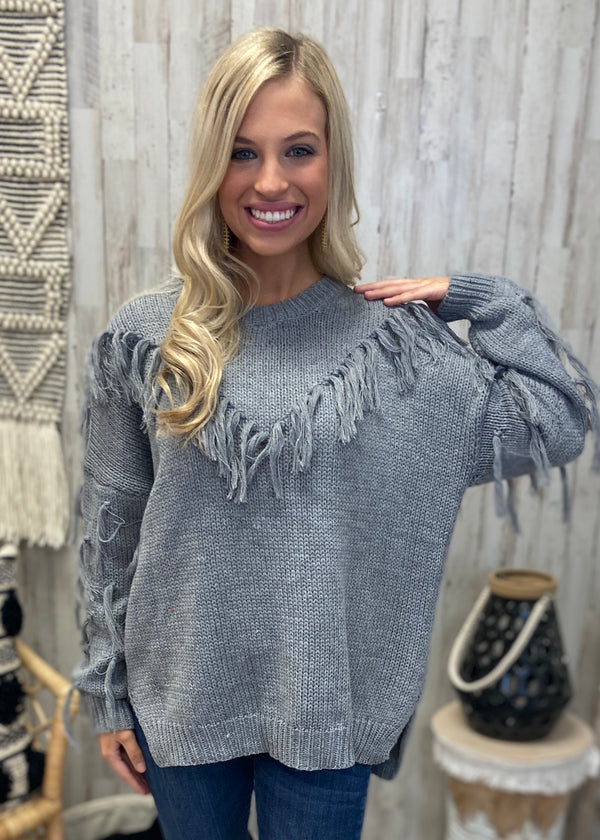 On The Fringe Heather Grey Sweater-Shop-Womens-Boutique-Clothing