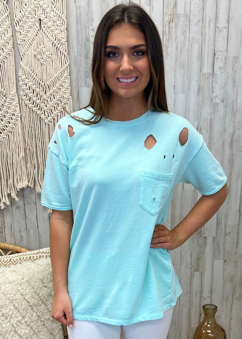 Basic Instincts Mint Distressed Top-Shop-Womens-Boutique-Clothing