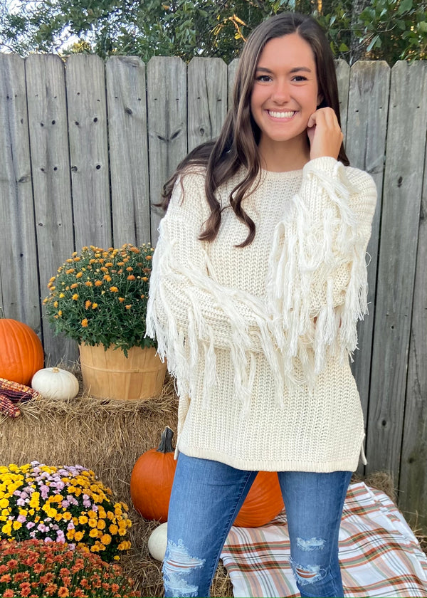 Headed to Aspen Cream Fringe Sweater-Shop-Womens-Boutique-Clothing