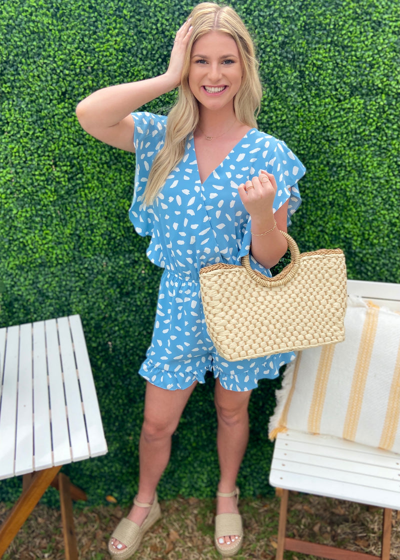 The Main Event Light Blue Spotted Romper-Shop-Womens-Boutique-Clothing