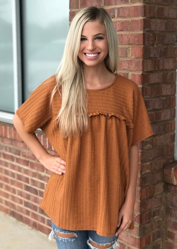 Lovely Moment Brown Babydoll Top-Shop-Womens-Boutique-Clothing