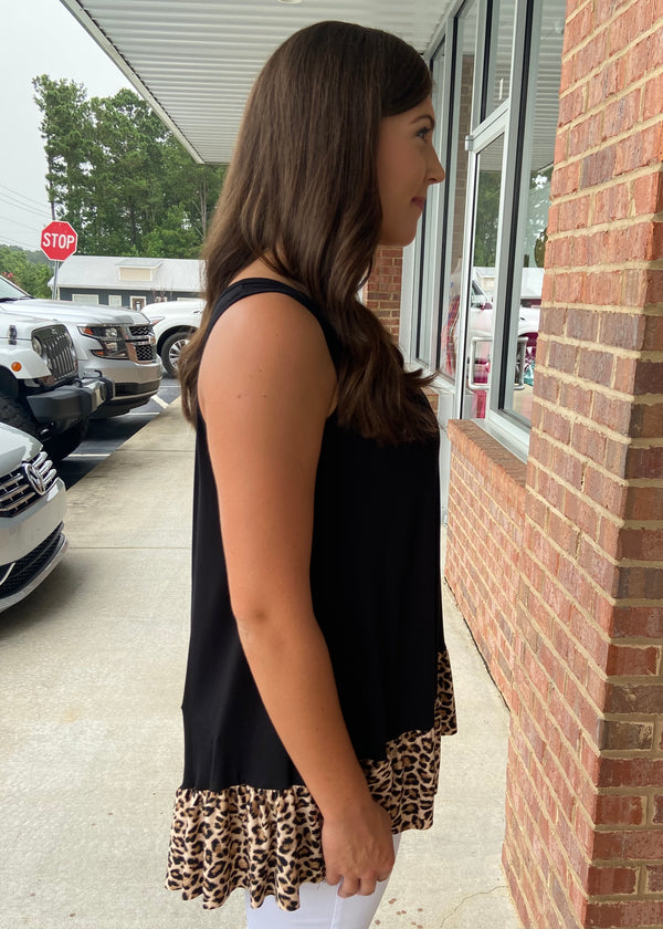 Forever Wild Black Animal Print Ruffle Tank Top-Shop-Womens-Boutique-Clothing