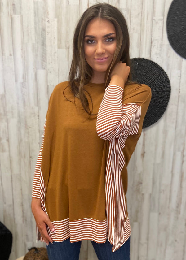 Campfires and Friends Brown Stripe Sweater-Shop-Womens-Boutique-Clothing