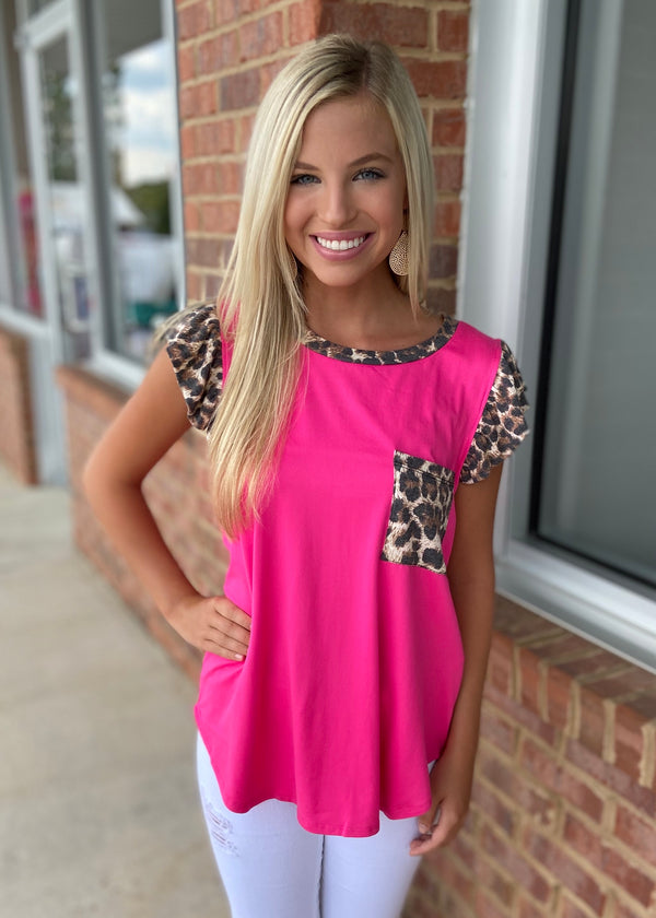 Hearts Race Fuchsia Leopard Top-Shop-Womens-Boutique-Clothing