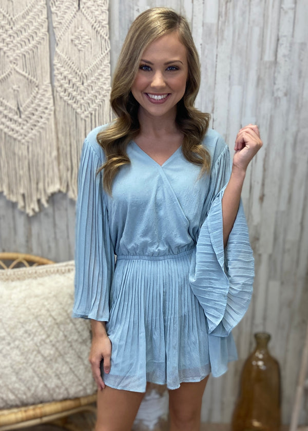 Special Occasion Misty Blue Pleated Romper-Shop-Womens-Boutique-Clothing