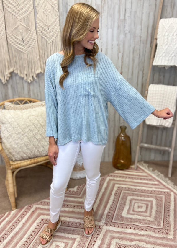 Stories Of Us Dusty Blue Waffle Top-Shop-Womens-Boutique-Clothing