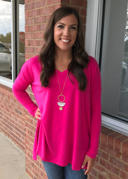 Simply Casual Hot Pink V-Neck Top-Shop-Womens-Boutique-Clothing