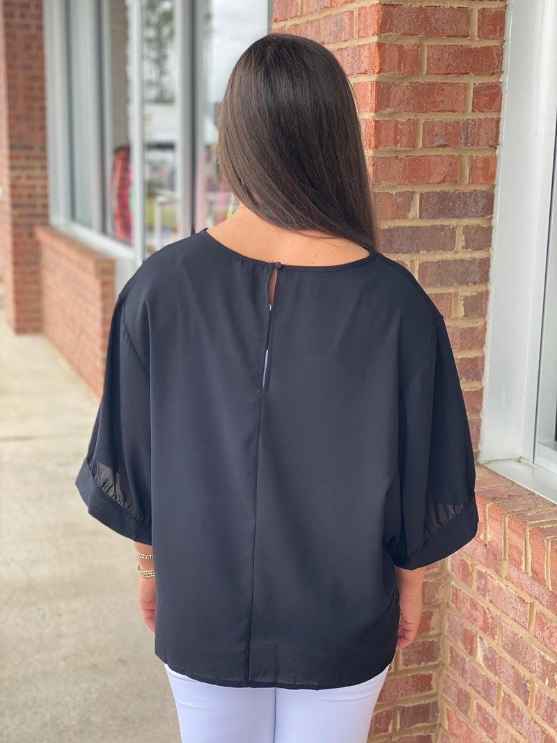 Anything You Like Black Drop Shoulder Top-Shop-Womens-Boutique-Clothing